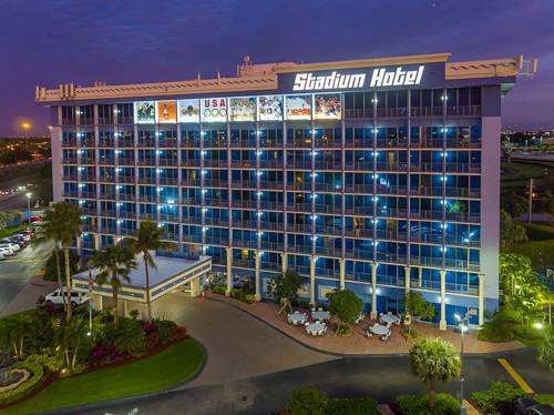 stadium hotel miami for information and reservations call 954 969 0069